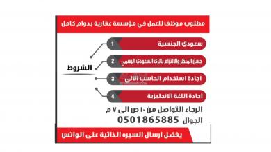 Photo of عروض توظيف من تاريخ 30 يوليو 2020 – الموافق 9 ذو الحجة 1441